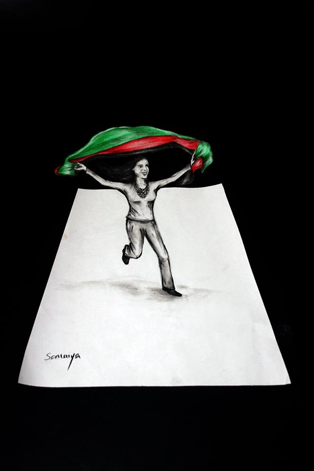 3D painting girl with Afghanistan flag
